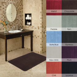 None - Microfiber Memory Foam 17 x 24 Bath Mat - This foam bath rug comes in a variety of colors that work with any bathroom decor. These plush rugs are completely machine washable,so when the highly absorbent rug becomes saturated,you can simply toss it in the wash for easy cleaning.