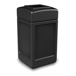 Commercial Zone - Commercial Zone 38 gal. Square Commercial Trash Can - 732103 - Shop for Trash Receptacles from Hayneedle.com! The Commercial Zone 38 Gallon Square Commercial Trash Can is perfect for high-traffic areas because it's tough enough and big enough to handle any type of situation. Made from high-density polyethylene in black gray or beige it is easy to clean with a standard degreaser. The bag won't rip when removed from the 38-gallon unit thanks to the patented Grab Bag system. The lid easily lifts off for emptying the trash can. The unit is made from post-consumer recycled material (50% in the black unit and 25% in the beige and gray units). Dimensions: 18.5L x 18.5W x 30H inches.About iTouchlessiTouchless Housewares & Products creator of the Touchless Trashcan EZ Faucet and Towel-Matic manufactures and distributes a line of innovative products for your home and office. Their mission: to make people's lives a little easier by using their products. Over the last 15 years iTouchless has established a solid foundation and assembled multiple factories in Asia to support the increasing demand of sensor-activated products. Their vision for the future is to create a continuous stream of customer-driven innovations while selecting strategic partners and distributors to form mutually beneficial relationships.