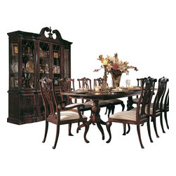 American Drew - American Drew Cherry Grove 8 Piece Dining Room Set in Antique Cherry - The 45th Anniversary Cherry Grove Collection is a blending of new and old adaptations from 18th century and higher end traditional styling. Georgian, Edwardian, Sheraton along with Queen Anne elements create this beautiful assortment of furniture. Cathedral cherry veneers, alder solids and select hardwoods create a new and exciting collection of bedroom, dining room and occasional for American Drew. Cherry Grove features many new items that have been designed to fill the needs of your home along with many proven winners that have existed since the very beginning. Scale and dimensions have been addresses to better suit today's standard of living. Cherry Grove now offers you a variety of opportunities to complement multiple decorating environments. In the American Drew tradition, attention to detail and exquisite craftsmanship make every piece an heirloom. You will be investing in a timeless piece of furniture that will be cherished for generations to come.