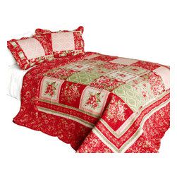 Blancho Bedding - Chinese Wedding Cotton 3PC Vermicelli-Quilted Printed Quilt Set  Full/Queen - Set includes a quilt and two quilted shams (one in twin set). Shell and fill are 100% cotton. For convenience, all bedding components are machine washable on cold in the gentle cycle and can be dried on low heat and will last you years. Intricate vermicelli quilting provides a rich surface texture. This vermicelli-quilted quilt set will refresh your bedroom decor instantly, create a cozy and inviting atmosphere and is sure to transform the look of your bedroom or guest room. Dimensions: Full/Queen quilt: 90 inches x 98 inches  Standard sham: 20 inches x 26 inches.