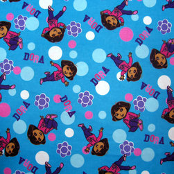 "SheetWorld - SheetWorld Fitted Pack N Play (Graco) Sheet - Dora Blue - Made in USA - This is a SheetWorld product made from Dora The Explorer fabric. This 100% cotton ""flannel"" pack n play sheet is made of the highest quality fabric that's double napped. That means these sheets are the softest and most durable. Sheets are made with deep pockets and are elasticized around the entire edge which prevents it from slipping off the mattress, thereby keeping your baby safe. These sheets are so durable that they will last all through your baby's growing years. We're called sheetworld because we produce the highest grade sheets on the market today. Features the one and only Dora! Size: 27 x 39. Not a Graco product. Sheet is sized to fit the Graco playard. Graco is a registered trademark of Graco."