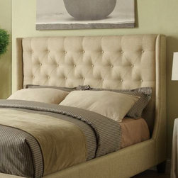 Wildon Home � - Queen Upholstered Headboard - This stunning tan upholstered headboard will make a bold centerpiece in your master bedroom. Accented with button tufting, this headboard is sure to complement your decor. Features: -Color: Tan.-Headboard only (wings not included on headboard).-Distressed: No.
