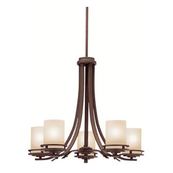 Kichler 5-Light Chandelier - Olde Bronze - Five Light Chandelier Named after renowned Dutch architect, Hendrix Berlage, the Hendrix collection is a gorgeous family of contemporary fixtures that honor the man who was regarded by many as the father of modern architecture. Much like Berlage himself, the Hendrix collection is regarded as an intermediary between modern and traditional styles. Classic lines are enhanced with a soft touch of current style cues to work in a number of aesthetic environments. The warm hue of our olde bronze finish is partnered with light umber etched glass for a fantastic balance of natural color. The 5-light Hendrix chandelier uses 100-watt bulbs, measures 24 in diameter with a body height of 21 . It comes complete with 104 of extra lead wire as well, allowing for easy installation.