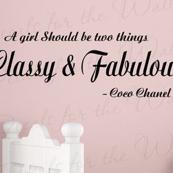 Decals for the Wall - Wall Decal Quote Sticker Vinyl Art Lettering Classy and Fabulous Coco Chanel B30 - This decal says ''A girl should be two things, classy & fabulous. - Coco Chanel''
