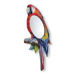 Red / Blue Parrot Framed Wall Mirror - This wonderful wall mounted mirror is a great accent to any home. It features a red and blue parrot shaped wooden frame, and the oval mirrored area in the center of the parrot`s body measures 8 inches by 5 inches. Including the frame, the measurements are 23 1/2 inches tall, 10 inches wide, and 1/2 an inch thick. It easily mounts to the wall with a single nail or screw by the hanger on the back. This piece makes a great gift for any parrot lover, and is sure to be admired.