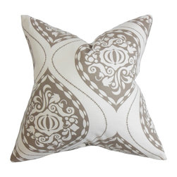 """The Pillow Collection - Corisande Floral Pillow Brown 18"""" x 18"""" - Lend a posh look to your home with this modern home accessory. An intricate floral pattern in shades of brown and white are displayed in this accent pillow. This accent pillow is made with a blend of 95% cotton and 5% linen fabric, which is easy to clean and maintain. Ideal for formal and casual settings. Hidden zipper closure for easy cover removal.  Knife edge finish on all four sides.  Reversible pillow with the same fabric on the back side.  Spot cleaning suggested."""