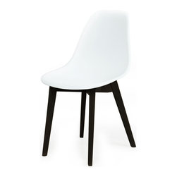 American Atelier - Pratt Chair -White Seat - Designed with a durable white construction. The rounded back and seat are complemented by four beveled legs for a modern accent to your living space. Materials: Polycarbonate/ polypropylene. Color/finish: White.