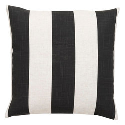 "Surya - Surya JS-009 Striking Stripe Pillow, 18"" x 18"", Down Feather Filler - Compose a lasting look in your space with this supreme striped pillow. Featuring bold black stripes against a delicate white backdrop, this piece is perfect to craft an ageless look from room to room. This pillow contains a zipper closure and provides a reliable and affordable solution to updating your home's decor. Genuinely faultless in aspects of construction and style, this piece embodies impeccable artistry while maintaining principles of affordability and durable design, making it the ideal accent for your decor."