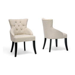 Baxton Studio - Baxton Studio Halifax Beige Linen Dining Chair (Set of 2) - The perfect perch during a dinner party, the stunning Halifax Dining Chair is a comfortable, stylish seat for your guests.  This chair is the ideal splurge for yourself with features including a birch wood frame, black legs, foam cushions, and light beige linen fabric upholstery.  Comfort is enhanced by the backrest's curved shape.  Each chair is manufactured in China and should be spot cleaned.  Fully assembled.