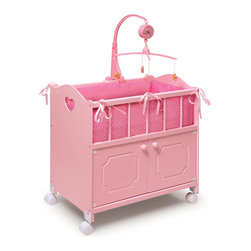 Badger Basket - Pink Doll Crib with Cabinet/Bedding/Mobile/Wheels - Badger Basket's Pink Doll Crib with Cabinet, Bedding, and Mobile suits your dolly at bed time and includes a nice sized storage cabinet to keep her things organized for the day!; Pink ribbons and heart cutouts on the sides add a complimentary touch to the soft, fabric bedding.; Bedding includes bumper/liner that fully lines the inside of the crib, a blanket, and a pillow.; The two cabinet doors with knobs open to reveal ample storage room for your doll clothes and accessories.; Concealed magnets holds the doors closed.; Also includes a real, working Musical Mobile! Wind-up the mobile and it slowly rotates to soothe your baby doll into dreamland.; Interesting shapes dangling from the mobile add to the realistic look.; Mobile does not require batteries. Plays a happy nursery or lullaby tune (tunes vary).; Mobile can be attached to either side of the crib and can be detached if you don't want to use it.; Height from top of crib rail to floor measures 22 inches.; Smooth rolling casters allow the crib to be moved from room to room during play.; Overall crib without mobile measures 22 inches L x 12.25 inches D x 23-5/8 inches H.; Mobile adds approximately 14 inches to the height.; The interior of the cabinet is approximately 21.75 inches W x 11 inches D x 10.25 inches H.; Crib sleeping area is approximately 10.5 inches W x 21.5 inches L x 7 inches H.; Taller crib design is comfortable for children of all ages to play with.; Pretty star pattern coordinates with the friendly pink finish.; Designed for dolls up to 22 inches .; Can be enjoyed by children from three years old and up.; All paints and finishes are non-toxic.; Adult assembly required. Illustrated instructions included.; Crib is made of wood and engineered wood.; Liner, pillow, and blanket are made with 100% polyester/cotton fabric and polyester fill.; Mobile is plastic.; Wheels are plastic and metal.; Wipe the crib clean as needed. Hand washing in cold water recommended for the bedding.; Can be enjoyed by children from three years old and up.; Doll not included.; Meets or exceeds all current, applicable safety standards.; This item is to be used with dolls only and is never to be used with real infants or pets.; Actual product may vary slightly from shown and described.; All measurements approximate.; Product includes a warranty of 30 Days Parts to the original purchaser.; This item ships in its original carton which may include a photo of the product.; There are holes cut into the back panels of this item that are required by safety standards and they are not a product defect.; WARNING: CHOKING HAZARD - Small parts. Not for children under 3 yrs.