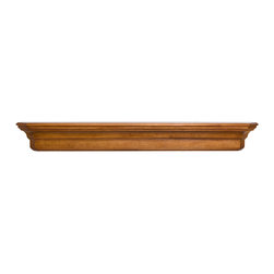 "Pearl Mantel - The Lindon Fireplace Surround, Oak, 60"" - This surround shelf will go to great lengths to support your collectibles. Because it's designed with simple lines and a rich wood finish, it can work in any room — accommodating dish displays in the dining room, photos above the fireplace, beloved antiques in the bedroom. You choose."