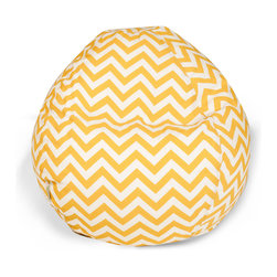"Majestic Home - Outdoor Chevron Small Bean Bag, Yellow, 28"" L X 28"" W X 22"" H - Beanbags are the ultimate kid-friendly chairs: You can toss them anywhere, let them get kicked around and squished up, and you don't have to worry if this one gets left outside overnight. This small, snazzy chevron beanbag is just the right size for your kid to plop in front of a movie or out by the pool, and its fun chevron slipcover is safe for outdoors and removable for easy cleaning."