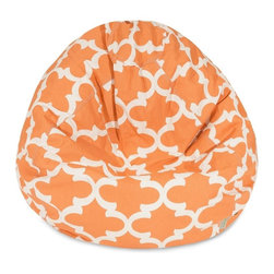 Majestic Home Goods - Peach Trellis Small Classic Bean Bag - Now you can kick back and relax anywhere, inside or out, with this comfortable and supportive Reading Pillow. The Majestic Home Goods indoor/outdoor Trellis reading pillow provides back and head support that is perfect for many activities such as reading, working on your laptop or lounging with friends. Stuffed with a super loft recycled polyester fiber fill, the reading pillows zippered slipcover is woven from outdoor treated polyester and has up to 1000 hours of U.V. protection.  Spot clean slipcover with mild detergent and hang dry. Do not wash insert.