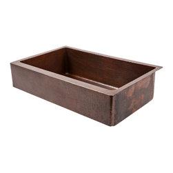 "Premier Copper Products - 35"" Retrofit Copper Kitchen Apron Sink - 35"" Retrofit Hammered Copper Kitchen Apron Single Basin Sink"