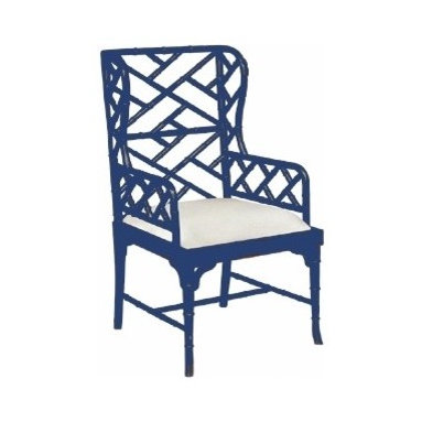 Chinese Chippendale Wing Chair -