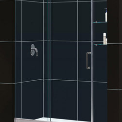 DreamLine - DreamLine SHDR-19607210-04 Mirage 56 to 60in Frameless Sliding Shower Door, Clea - The Mirage shower door delivers a unique design and the look of custom glass at an unbelievable value. Most sliding shower doors require substantial aluminum framing, but the Mirage uses innovative hardware to provide the space-saving benefits of a sliding door without compromising the beauty of a completely frameless glass design 56 - 60 in. W x 72 in. H ,  3/8 (10 mm) thick clear tempered glass,  Chrome or Brushed Nickel hardware finish,  Frameless glass design,  Width installation adjustability: 56 - 60 in.,  Out-of-plumb installation adjustability: No,  Unique fully frameless sliding shower door design,  One sliding panel with two stationary panels,  Stationary glass panel with two glass shelves,  Aluminum bottom guide rail may be shortened by cutting up to 4in, Aluminum, Brass