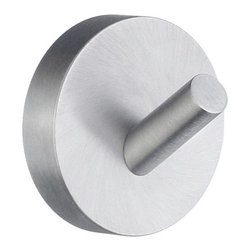 Smedbo - Home Towel Hook in Brushed Chrome Finish - Concealed fastening. 1.88 in. W x 1.88 in. H