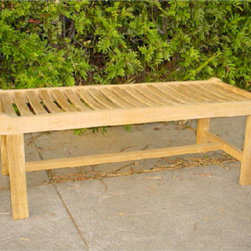 Anderson Teak - BH748B 48-Inch Cambridge Backless Bench - This beautiful Cambridge backless bench is so artistic and unique that it can blend in with any house or backyard. This piece will never go out of style, but quietly blends with any decor. Unlike our benches and chairs with backs, the lowest point in this seats curve is directly in the center, allowing you to face either direction. This bench also can be used f or seating at a dining table or in area where a bench with a back would simply be too tall. Quality built f or generations.