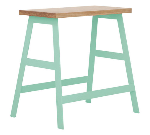 """Iacoli & McAllister - 18"""" Panca, Mint - This little piece is a true workhorse. A great bench, side table or nightstand, the powder-coated steel base and natural oiled ash top will hold everything — including you — in style."""