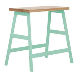 "Iacoli & McAllister - 18"" Panca, Mint - This little piece is a true workhorse. A great bench, side table or nightstand, the powder-coated steel base and natural oiled ash top will hold everything — including you — in style."