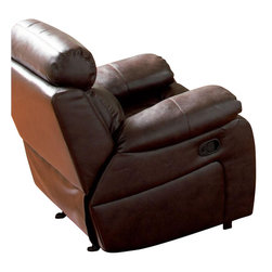 Coaster - Coaster Denisa Leather Recliner Chair in Rich Brown - Coaster - Recliners - 600563 - This leather rocker recliner will make a wonderful addition to your living room with its casual comfort and style. A plush double reclining scoop seat offers the ultimate in comfort. The horizontally split back cushion provides lumbar support, and the fully cushioned chaise pad seat provides comfort from head to toe. Pair with the coordinating loveseat and sofa for a terrific room setting.