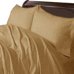 SCALA - 400TC 100% Egyptian Cotton Stripe Taupe Full XL Size Sheet Set - Redefine your everyday elegance with these luxuriously super soft Sheet Set . This is 100% Egyptian Cotton Superior quality Sheet Set that are truly worthy of a classy and elegant look. Full XL Size Sheet Set includes:1 Fitted Sheet 54 Inch (length) X 80 Inch (width) (Top surface measurement).1 Flat Sheet 81 Inch(length) X 96 Inch (width).2 Pillowcase 20 Inch (length) X 30 Inch (width).