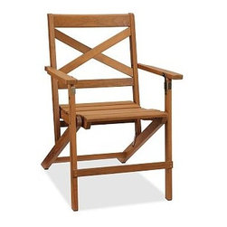 "Hampstead Teak Folding Dining Armchair, Set of 4 - Whether enjoying a casual picnic or hosting a formal affair, you can count on our Hampstead Collection to provide outdoor furnishings that are beautiful and durable. The folding armchair is crafted of premium teak to last season after season, and folds for easy storage when not in use. Click to read an article on {{link path='pages/popups/hampstead-care_popup.html' class='popup' width='640' height='700'}}recommended care{{/link}}. 24"" wide x 24.5"" deep x 33.5"" high Built from teak, a dense hardwood that's ideal for outdoor use. Foldable design for easy storage and mobility. Exposed hardware has an antique brass finish. View our {{link path='pages/popups/fb-outdoor.html' class='popup' width='480' height='300'}}Furniture Brochure{{/link}}."