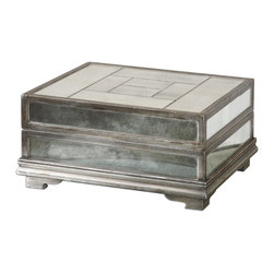 Uttermost - Trory Mirrored Decorative Box - Store Those Special Little Treasures In This Decorative, Felt Lined Box Featuring Antiqued Tiled Mirrors With An Antiqued Silver Trim. Hinged Lid.