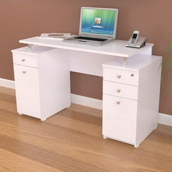 Inval - Laura Computer Desk with Accessory Drawers - Features: -Modern design.-Plastic base glides.-Pedestal has 2 accessory drawers with metal slides and 1 file drawer with lock and key system.-Pedestal has an additional accessory drawer and a storage compartment with a door.-File drawer with chrome metal handle and full extension metal slides accommodates letter and legal sized files.-Laminated durable melamine provides stain, heat and scratch resistant with floor levelers.-Top with a 1.5 mm edge banding.-Use at home or office.-P2 engineered wood board construction.-Finish: Laricina white.-Laura collection.-Distressed: No.-Collection: Laura.Dimensions: -Overall Product Weight: 89.28 lbs.Warranty: -Manufacturer provides 5 year limited warranty.
