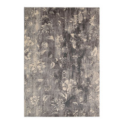 """Nourison - Nourison Utopia UTP10 2'6"""" x 4'2"""" Ivory Slate Area Rug 10627 - A wash of cool slate grays brings pale flowers into the foreground in this wonderful, watercolor effect area rug. It's a modern take on the """"mille fleur"""" (thousand flowers) design of ancient tapestry. Use it for an artistic accent that's both delicate and dramatic."""