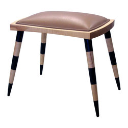 cosmo barbaro furniture - Striped Leather Stool - Striped Stool is a part of a series of striped furniture that I have produced over the last 10 years.  This stool is made from extremely maple, nu buck leather and milk paint.  This stool takes its inspiration from Egyptian influences.  16 x 13 x 17.