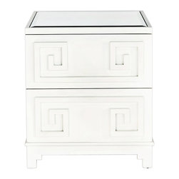 "Worlds Away - Worlds Away Pagoda White Nightstand - Inspired by the tiered towers of Asia, geometric overlays add design interest to the Pagoda side table. Worlds Away tops the look with beveled mirror for modern glamour and transitional versatility. 24""W x 20""D x 29""H; Made from solid hardwoods; White lacquer finish; 2 drawers with metal glides"