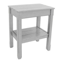 EuroLux Home - New Side Table Gray Painted Hardwood Planked - Product Details