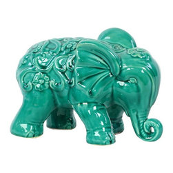 """Benzara - Embellished with Beautiful Motifs Adorable Ceramic Elephant in Turquoise - Charming and adorable, the Embellished with Beautiful Motifs Adorable Ceramic Elephant in Turquoise features elegant contours, intricate lines and exquisite carved features. This adorable ceramic elephant comes in a lovely turquoise color and sports a slightly weathered effect for that antique look and feel. This cute ceramic figure resembles a baby elephant walking with its trunk almost touching the ground. The dimensions of the Embellished with Beautiful Motifs Adorable Ceramic Elephant in Turquoise are 10.5""""x6""""x7""""H. Ceramic; Turquoise; 10.5""""x6""""x7""""H; Dimensions: 11""""L x 6""""W x 7""""H"""