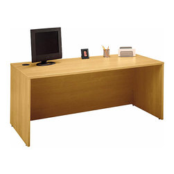 """Bush Business - 72 in. Manager's Desk in Light Oak - Series C - The Light Oak Series C 72 inch Manager's Desk accepts a right or left return, and  can accommodate two 3-drawer, 2-drawer, or 3/4 pedestals as required.  This solidly built desk features desktop & modesty panel grommets for concealed wire access. * Desktop & modesty panel grommets for wire access. Accommodates two 3-Drawer, 2-Drawer, or 3/4 Pedestals. Accepts right or left return and 71"""" Hutch. Accepts Keyboard Shelf or Pencil Drawer. Sturdy 1""""-thick top surface. Durable PVC edge banding protects desk from bumps and collisions. Durable melamine surface resists scratches and stains. 70.984 in. W x 29.37 in. D x 29.842 in. H"""