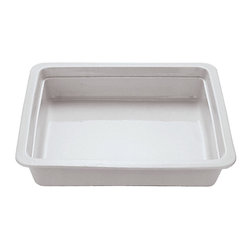 Paderno World Cuisine - 14 in. by 12 1/2 in. Porcelain Hotel Food Pan - This 14 in.  by 12 1/2 in.  porcelain hotel food pan is a standard size which fits into universal racks, heating elements and walk-in coolers. This standard was intended to rationalize the working processes in food industry operations by creating a high level of compatibility of kitchen equipment. The Palermo series is a part of a lineage of cookware more than 80 years old.