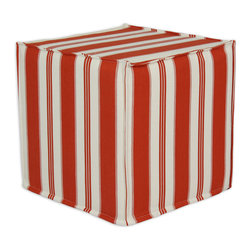 """Chooty - Chooty Trade Winds Lobster Collection 17"""" Square Seamed Foam Ottoman - Insert 100 High Density Foam, Fabric Content 100 Cotton, Color White, Orange , Hassock 1"""