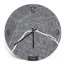 "ArtnWalls - PARIS MAP ART Wall Clock - Unique Contemporary Art Wall clock - 11"" Diameter - Abstract Paris, France, map art - Features the streets of the city of light."