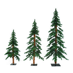 Flocked Alpine Christmas Tree Set - Barcana's flocked Timberline Alpine artificial Christmas tree set comes with (3) Timberline Alpine trees. 2 feet, 3 feet, and 4 feet in height, these classic pre-lit flocked PVC needle trees are illuminated with 185 clear, incandescent Christmas mini lights, collectively. Barcana Christmas trees and decorations are meant to last over a lifetime. With proper storage, this commercial quality decoration will be passed down for generations. UL listed for indoor use only.