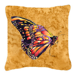 Caroline's Treasures - Butterfly on Gold Fabric Decorative Pillow - Indoor or Outdoor Pillow from heavyweight Canvas. Has the feel of Sunbrella Fabric. 18 inch x 18 inch 100% Polyester Fabric pillow Sham with pillow form. This pillow is made from our new canvas type fabric can be used Indoor or outdoor. Fade resistant, stain resistant and Machine washable..