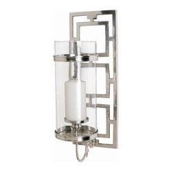 Arteriors - Wilson Polished Nickel/Glass Hurricane Sconce - Hurricane lamps have a long, celebrated history — they were originally designed to shelter candlestick flames from high winds and hurricanes. This pillar candle wall sconce offers you a modern interpretation of those originals, with a chain-link back plate in polished nickel that supports a clear cylindrical glass.
