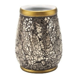 Gedy - Free Standing Gold Pottery and Glass Toothbrush Holder - Stylish round free standing toothbrush holder/tumbler for your modern or contemporary style bathroom settings.
