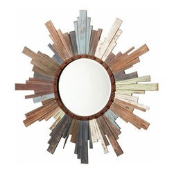 Multicolor Rustic Wood Wall Mirror - *Davenport Mirror
