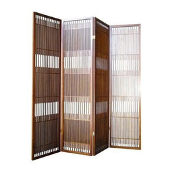 ORE International - Dual Folding 4-Panel Room Divider in Walnut F - Bring both texture and visual interest to any room of your home with this striking room divider, a perfect way to create privacy or separate spaces or seating areas. The four-panel screen features an elegant matchstick design and is constructed of rubberwood in a warm walnut finish. Hinged Sections Flex and Fold. Made from Rubberwood. No assembly required. 50 in. L x 6 in. W x 70 in. H (25 lbs.)Classic Design meets Clean Sensibility with this Cottage-Style Screen.