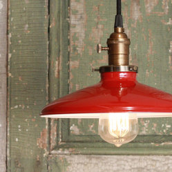 Pendant Light With Red Enamel Shade by Lucent Lampworks