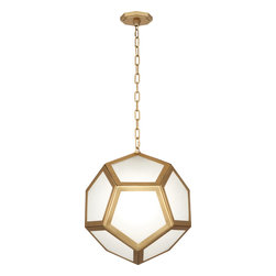 Robert Abbey - Pythagoras Pendant - Hang this modern pendant in your dining room or in a select corner of your living space. The matte brass or polished nickel finish provides an elegant contrast to the frosted glass accents. It's a playful, yet sophisticated lighting option.