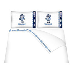 Sports Coverage - Sports Coverage NCAA North Carolina Tarheels Microfiber Hem Sheet Set - Queen - NCAA North Carolina Tarheels Microfiber Hem Sheet Set have an ultrafine peach weave that is softer and more comfortable than cotton. Its brushed silk-like embrace provides good insulation and warmth, yet is breathable.   The 100% polyester microfiber is wrinkle-resistant, washes beautifully, and dries quickly with never any shrinkage. The pillowcase has a white on white print beneath the officially licensed team name and logo printed in vibrant team colors, complimenting the new printed hems.    Features: -  Weight of fabric - 92GSM ,  - Soothing texture and 11 pocket,  -  100% Polyester,  - Machine wash in cold water with light colors,  - Use gentle cycle and no bleach ,  - Tumble-dry,  - Do not iron ,