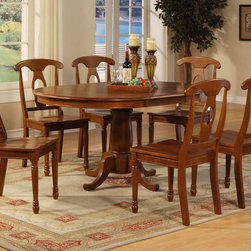 "East West Furniture - Portna 7Pc Set with Portland Dining Table and 6 Napoleon Wood Seat Chairs - Portna 7Pc Set with Single Pedestal Portland Oval Dining Table Featured 18"" Extension Leaf and 6 Napoleon Styled Wood Seat Chairs; The Portna dining set has a classic beauty that is perfect for formal dining.; The set is constructed with Asian hardwoods and finished in a warm Saddle Brown.; A butterfly leaf extension is included for additional seating when entertaining guests.; The round table, which becomes oval shaped with the butterfly leaf, stands on a single pedestal.; Chairs have gracefully tapered legs, and chairs are available with wood or upholstered seats.; Weight: 201 lbs; Dimensions: Table: 42-60""L x 42""W x 30""H; Chair: 18""L x 18""W x 38""H"