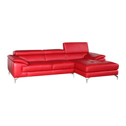 JNM Furniture - JNM A973a Premium Leather Modern Sectional Sofa, Red - A fusion of style, and comfort. This sleek design is sure to add spice to any decor