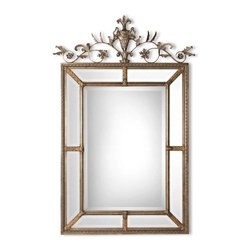 """Uttermost - Uttermost Le Vau Vertical Mirror - Uttermost Le Vau Vertical Mirror is a Part of Mirrors Collection by Uttermost This frame features a generous 1 1/4"""" beveled mirror.The outer panels contain beveled mirrors between the inner and outer frames. A decorative metal cartouche adorns the frame's top. The silver leaf undercoat has a heavy gray wash with gold leaf highlight Wall Mirror (1)"""